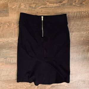 Black Gold Zipper Peplum Skirt
